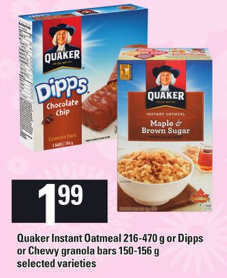 Quaker Instant Oatmeal - 216-470 G Or Dipps Or Chewy Granola Bars - 150-156 G