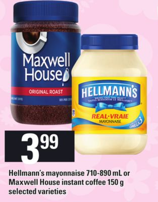 Hellmann's Mayonnaise - 710-890 Ml Or Maxwell House Instant Coffee - 150 G