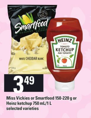 Miss Vickies Or Smartfood 150-220 G Or Heinz Ketchup 750 Ml/1 L