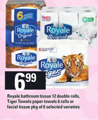 Royale Bathroom Tissue 12 Double Rolls - Tiger Towels Paper Towels 6 Rolls Or Facial Tissue - Pkg of 6