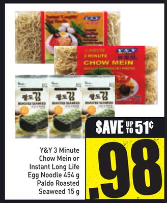Y&y 3 Minute Chow Mein or Instant Long Life Egg Noodle 454 g - Paldo Roasted Seaweed 15 g