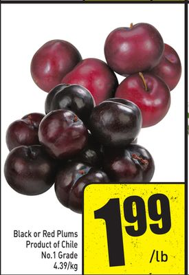 Black or Red Plums Product of Chile No.1 Grade 4.39/kg