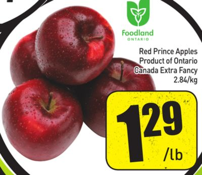 Red Prince Apples Product of Ontario Canada Extra Fancy 2.84/kg