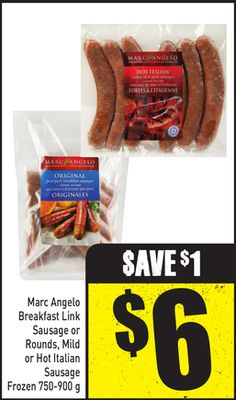 Marc Angelo Breakfast Link Sausage or Rounds - Mild or Hot Italian Sausage Frozen 750-900 g