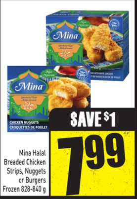 Mina Halal Breaded Chicken Strips - Nuggets or Burgers Frozen 828-840 g
