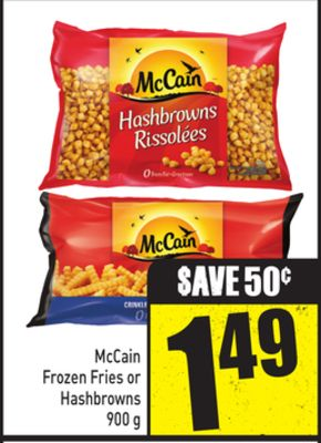 Mccain Frozen Fries or Hashbrowns 900 g