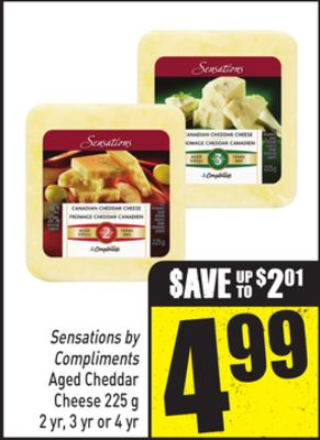 Sensations By Compliments Aged Cheddar Cheese 225 g 2 Yr - 3 Yr or 4 Yr