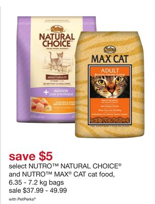 Select Nutro Natural Choice And Nutro Max Cat Cat Food