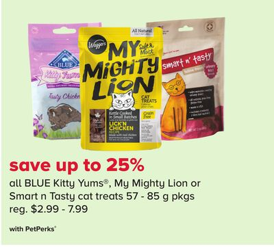 Blue Kitty Yums - My Mighty Lion or Smart N Tasty Cat Treats