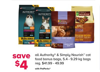 All Authority & Simply Nourish Cat Food Bonus Bags