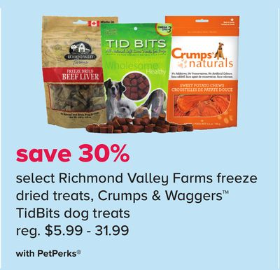 Select Richmond Valley Farms Freeze Dried Treats - Crumps & Waggers Tidbits Dog Treats